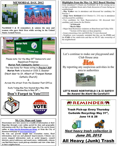 Northfield I and II May Newsletter