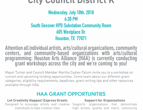 Houston Arts Alliance – Grants Workshop, July 18