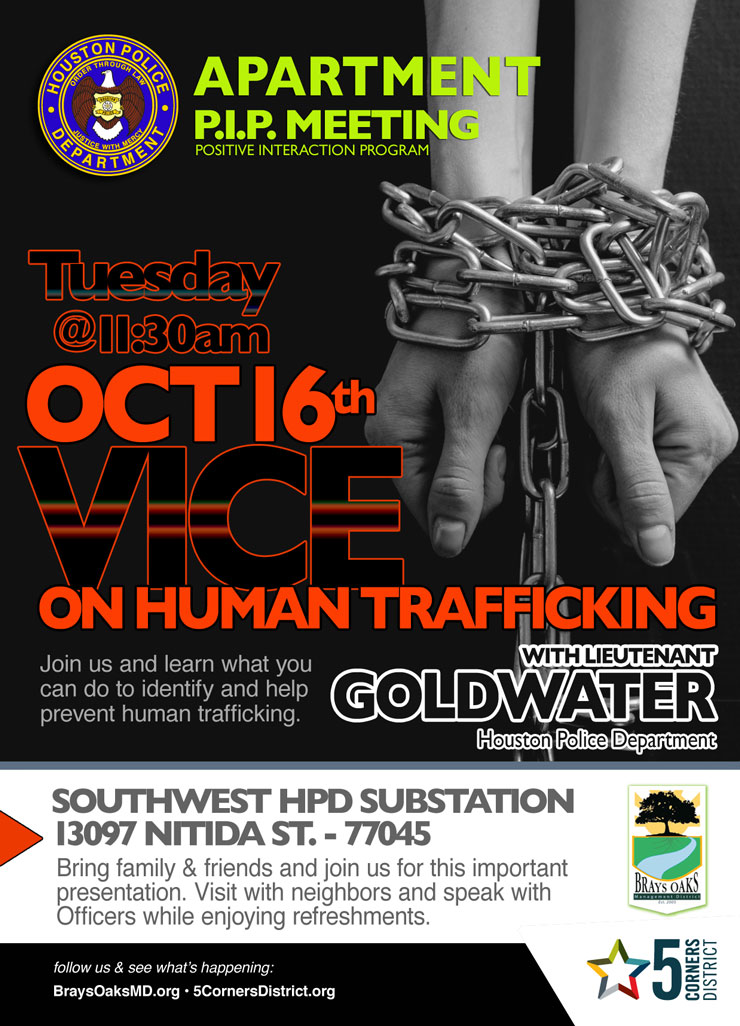 Apartment PIP Meeting: Vice on Human Trafficking, Oct  16