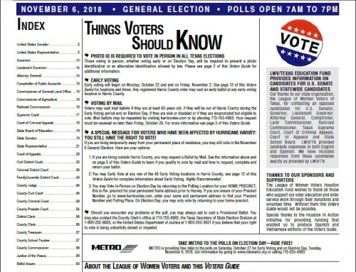 LWV-Houston's Voters Guide is on line now!