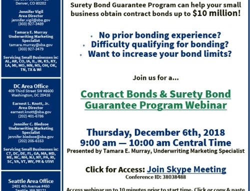 Contract Bonds and Surety Bond Guarantee Program Webinar, Dec. 6