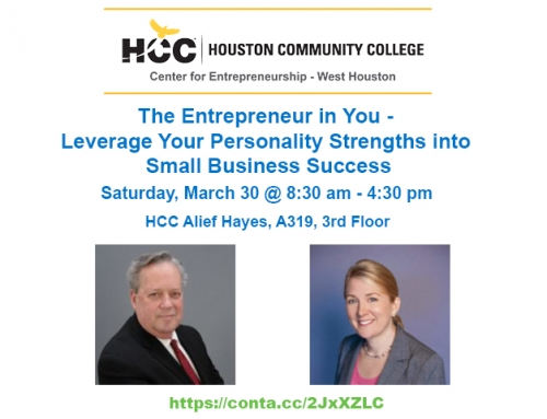 The Entrepreneur In You Workshop – 3/30 at HCC Alief Hayes