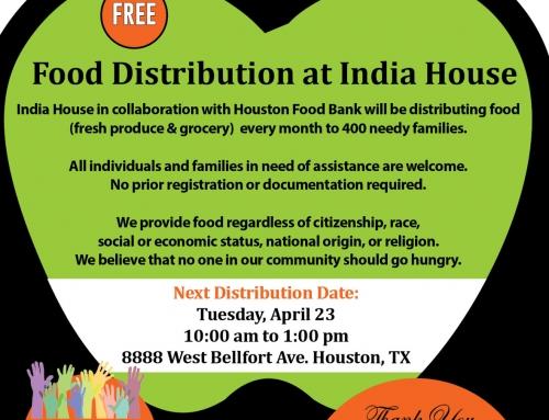 Free Food Distribution at India House: Tomorrow (Tuesday) at 10 am