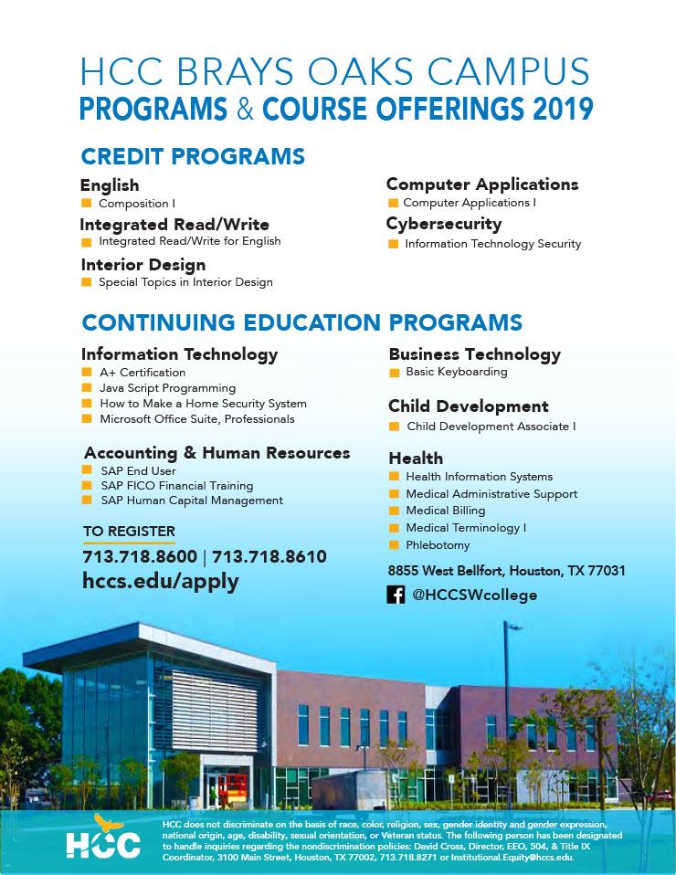 Fall Classes at HCC Brays Oaks - Brays Oaks Management District