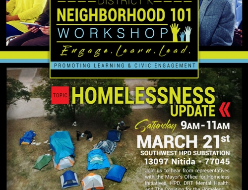 District K Neighborhood 101 Workshop: Homelessness, March 21