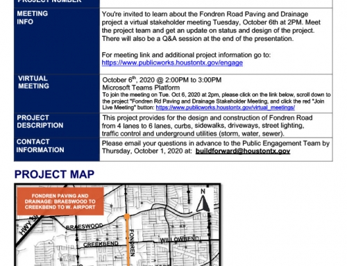 Virtual Public Meeting: Fondren Road Design Project, Oct. 6