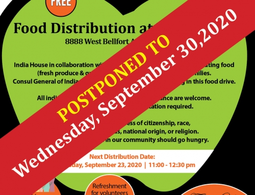 POSTPONED: Wednesday's Food Distribution at India House