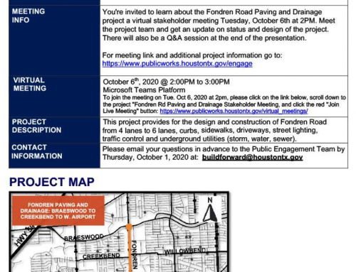 Stakeholder Meeting Notice on Capital Project: Fondren Rd. Paving and Drainage, Oct. 6