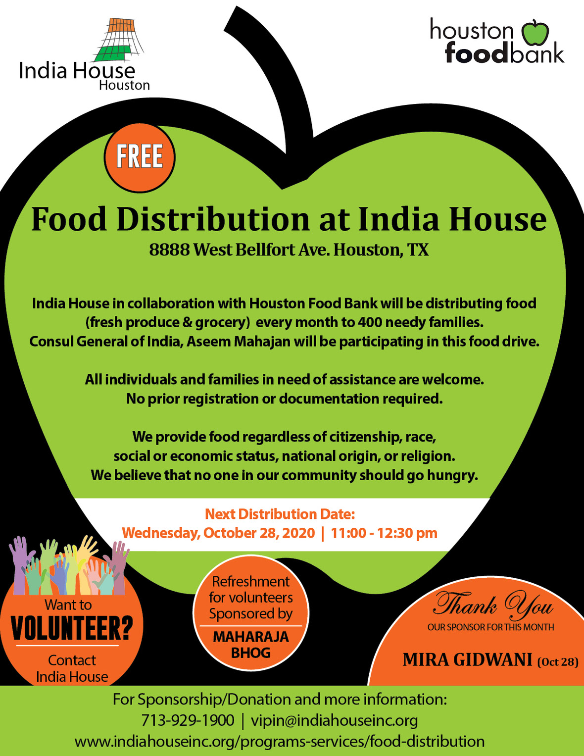 Free Food Distribution at India House, Wednesday, October 28th
