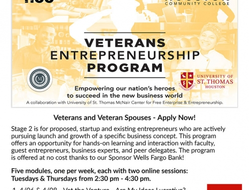 Veterans Entrepreneurship Program–Stage 2–Small Business Success Series by HCC© – For Veterans & Veteran Spouses Only