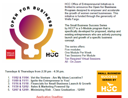 HCC: Small Business Success Series – Open for Business, Nov.-Dec.